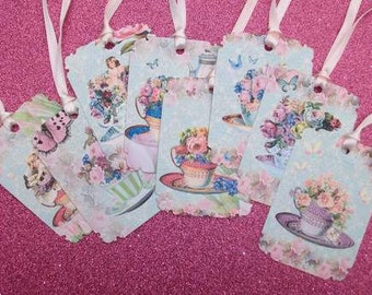 Tea Cups with Tulips & Roses Gift Tags set of 8 No.127