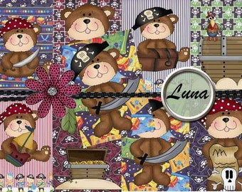 INSTANT DOWNLOAD Pirate Bears  No:5  Digital Download Printable Clip Art Backgrounds Gift Tags Scrapbooking Personal Use Only