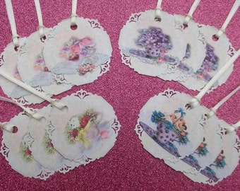 Vintage Cream Tea Cups Gift Tags set of 12 Medium Size Kitchen Tea  No.221 Triples
