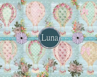 INSTANT DOWNLOAD Shabby Chic Hot Air Balloons  No.260 Personal Use Only