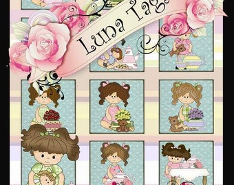 INSTANT DOWNLOAD Tea Party  2 x 2 inch Squares Collage Sheet Clip Art No:265 Cup Cake Toppers Personal Use Only Clip Art  Personal Use Only