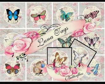 INSTANT DOWNLOAD Shabby Chic Butterfies 2.5 inch Squares Collage Sheet Clip Art No:266 Personal Use Only