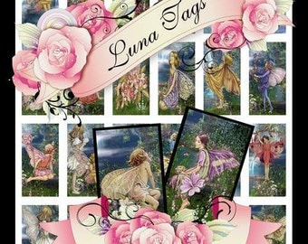 INSTANT DOWNLOADS Fairies 1 x 2 inch Dominoes Collage Sheet Clip Art No:269  Personal Use Only