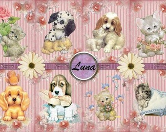 INSTANT DOWNLAOD Cute Vintage Puppies & Kittens  Gift Tags  No:336  Personal Use Only