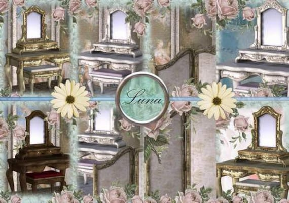 INSTANT DOWNLOAD Shabby Chic Vanity Tables  No:242  Personal Use Only Download Clip Art Scarpbooking Personal Use Only Gift Tags