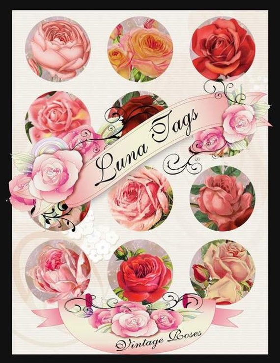 INSTANT DOWNLOAD Vintage Roses 2 inch Circles Collage Sheet Clip Art No:263 Cup Cake Toppers Personal Use Only