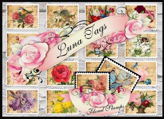 INSTANT DOWNLOAD Vintage Floral Stamps No:80  Digital Download Backgrounds Gift Tags Scrapbooking Personal Use Only