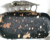 Winged Skull Knuckle Duster- Black Hair Hide with Copper Metallic Spots