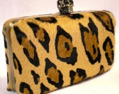 Leopard Hair Hide Clutch- skull clasp- Antique Brass