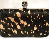 Black Hair Hide w- Copper spots Clutch- Antique Brass skull clasp