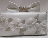 Bridal Clutch with 3D Flower Applique and bow - IN STOCK - one of a kind - Ready to Ship
