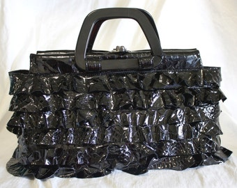 Black Patent Leather Croc patterned Ruffle bag- IN STOCK Ready to Ship