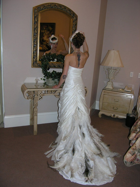 Rusched silk dupioni wedding gown with peacock ostrich for White feather wedding dress