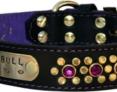 Purple Brass Leather Collar with Name Plate