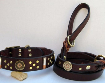 Shells and Bullets Leather Dog Collar