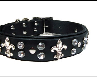 Black Leather Collar with Fleur De Li's and Crystals
