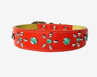 Custom Leather Dog Collar Orange Crush