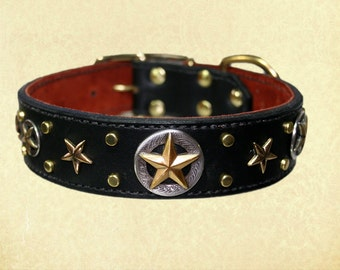 Black and Brass Rising Star Leather Collar