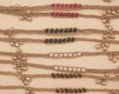 5 Hemp Braided Bead Woven Wish Anklet Bracelets with Jingle Bells Charms You Pick Color