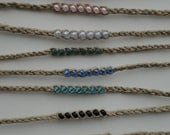 Hemp Braided Bead Woven Wish Anklet Bracelet You Pick Color