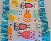 Owl Zoology Minky with Turquoise Satin Ruffle Burp Cloth - Ready to Ship