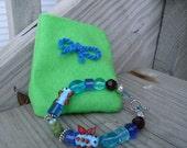 Girls Lampwork Bracelet Butterflies and Caterpillar With a Gift Pocket