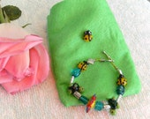 Small Children's Bracelet with lamp-work  Ladybugs, Turtles and Flowers