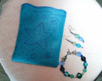 Blue Glass bead bracelet and earring set