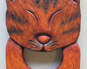 Wood Carving - Wooden Cat Towel Hanger