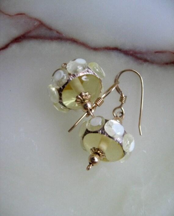 "Gold Earrings with handmade glass beads ""Sunny"", lampwork golden dotted earrings, gift for her, under 25, summer shiny gold-filled earrings"