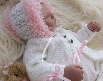 Baby Knitting Pattern - Girls or Reborn Dolls Knitting Pattern - Download PDF - Isabella- Baby Sweater Set, Trousers & Hat