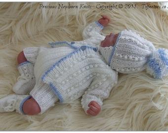 Baby Knitting Pattern - Newborn Baby Boys - Reborn Dolls Digital Download PDF Knitting Pattern - Baby Sweater Set - Homecoming Set