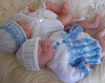 Baby Knitting Pattern - Early Baby or Preemie Reborn Doll Matinee Set - Download PDF Knitting Pattern