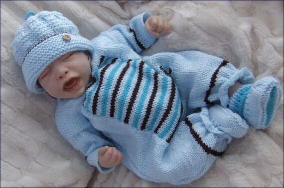 Baby Knitting Pattern - Download PDF Knitting Pattern - Baby Boy or Reborn Doll Romper, Hat & Booties - by Precious Newborn Knits
