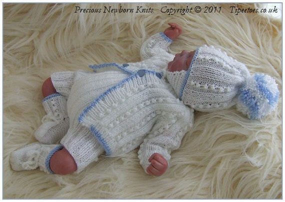Knitting Patterns For Babies To Download : Baby Knitting Pattern - Newborn Baby Boys - Reborn Dolls Digital Download PDF...