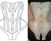 Ref A paper pattern hand drafted from antique corset with removable bones 22 inches waist size