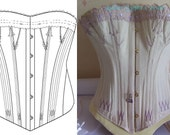 REF M paper pattern and photos for young girl antique gussets corset hand drafted  23.60 inches waist size