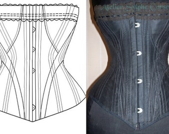 REF H Antique a la spirite 18 inches 1882 corset paper pattern and pictures