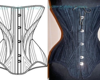"""REF N for """"CB Spirite"""" Edwardian corset pattern and pictures 20.86 inches waist size"""