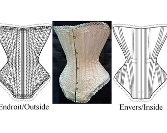 REF K  Pattern from antique Edwardian corset for seamstress reproduction 21inches waist size