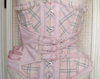 25 inches waist Pink tartan and fabric underbust corset with drapery hip and buckles details
