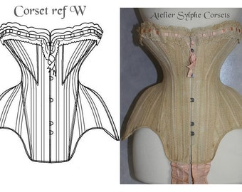 REF W Antique Edwardian 19.40 inches waist size antique corset pattern and pictures