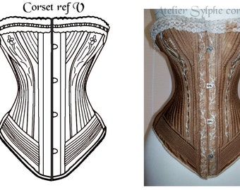 "REF V Black ""Royal Worcester Style99""  12x2 pieces pattern victorian style hand drafted from antique 21 inches waist size antique corset"