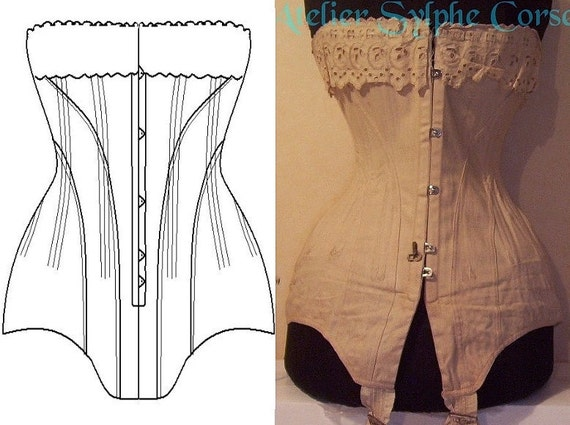 REF L Long line corset pattern early 1900 style hand drafted from antique 22.40 inches waist size