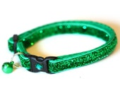 Glitter Cat Collar - Emerald Green - Small Cat / Kitten size or Standard (Large) Size