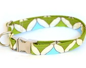 Dog Collar with Metal Clip -Chartreuse Green and Robins Egg Blue Mod Argyle - Medium