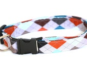 Dog Collar - Grey Argyle - Extra Large XL with Metal Clip