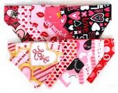 Lot of 10 Mini Pet Bandanas - Valentine Mix - Free Shipping