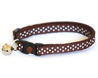 Polka Dot Cat Collar - Cocoa Brown- Small Cat / Kitten Size or Large Size Collar