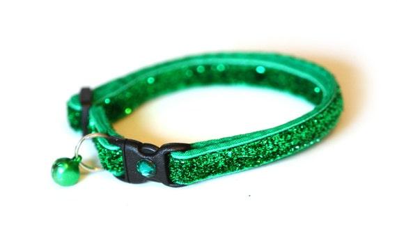 Glitter Cat Collar - Emerald Green - Small Cat / Kitten size or Standard (Large) Size